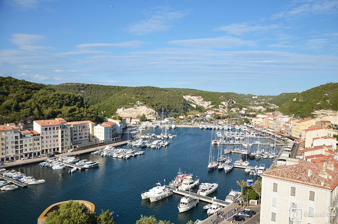Vue du port de Bonifacio