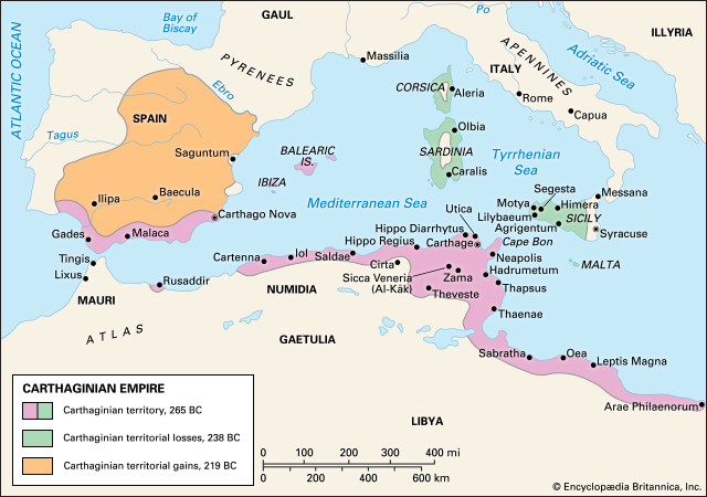 Carte Carthage antiquité